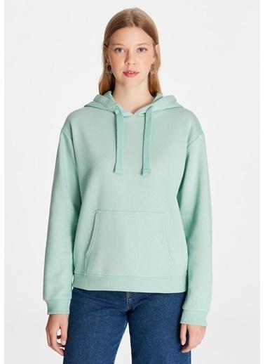Mavi Kapüşonlu Yeşil Sweatshirt Yeşil